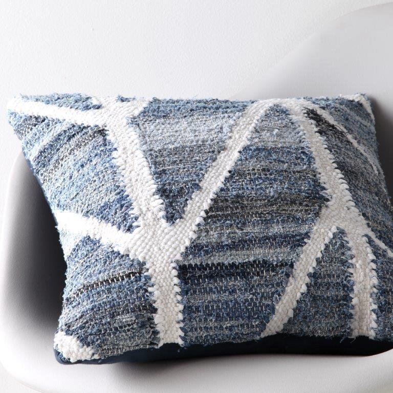 Tarro Blue Square Cushion by Logan & Mason