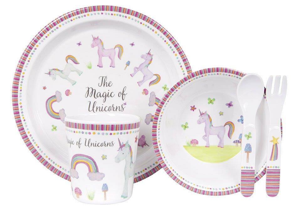 The Magic Of Unicorns By Ashdene - 5 Piece Kids Dinner Set