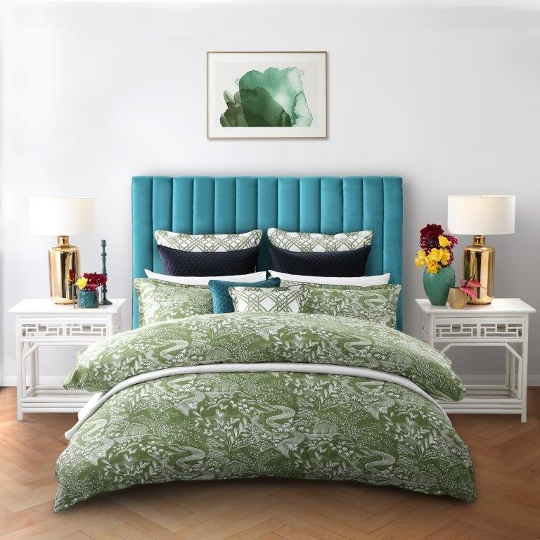 Waterfall Garden Green King bed Quilt Cover Set by Florence Broadhurst