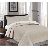 Windsor White/Latte Reversible Coverlet Set by Ardor