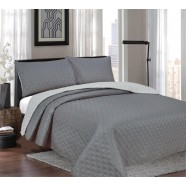 Windsor Charcoal/Silver Reversible Coverlet Set by Ardor