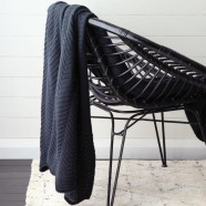 Ashmore Navy Throw by Private Collection