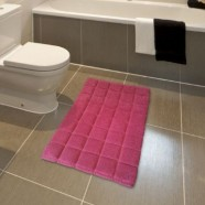 Cancer Fundraising Tiles Bathmat Fuchsia