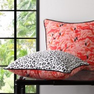 Florida Pink Square Cushion by Logan & Mason
