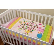 Owl Pink 3 Piece Cot Set