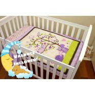 Owl Purple 3 Piece Cot Set