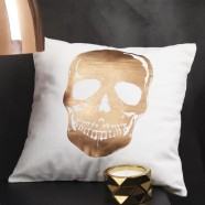 Skull Gold Square Cushion by Logan & Mason