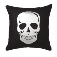 Skull Silver Square Cushion by Logan & Mason